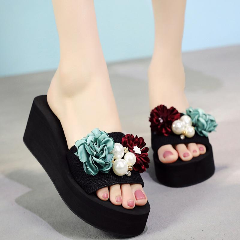 73496fc7e56f String Bead Women Slides Outside Handmade Women Wedges Shoes Durable ...