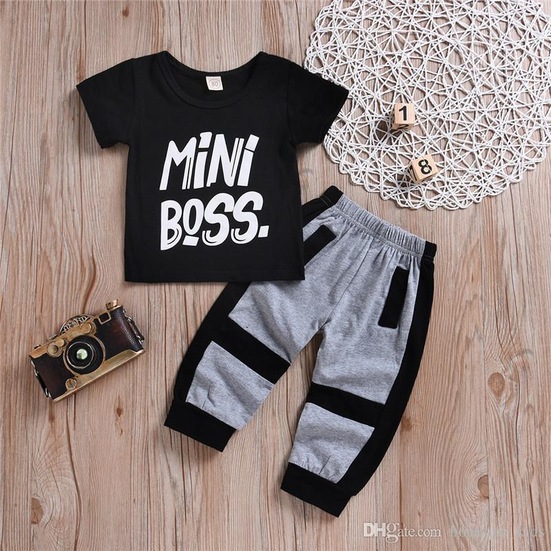 c484d2028 2019 2018 Cotton Boys Clothes Toddler Kids Baby Handsome Letter Mini Boss T  Shirt Tops Patchwork Pants Boys Outfits Set Boys Clothing 1 6Y From ...