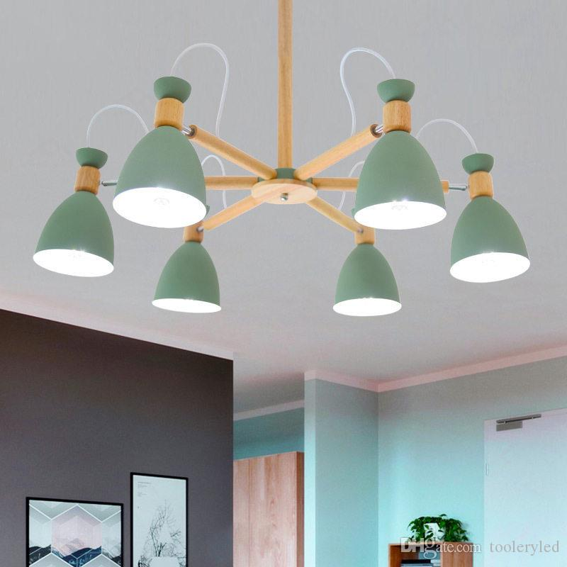 Post modern simple pendant lights macaron colorful E27 lamp holder green white gray material iron and wood droplight for foyer bedroom
