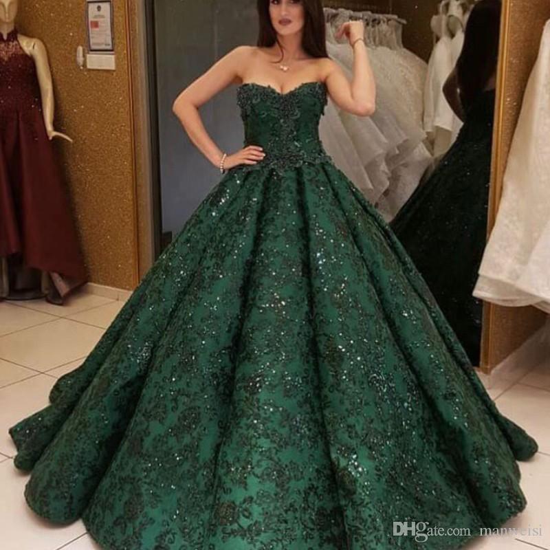 Dark Green Lace Ball Gown Prom Dresses Glitter Arabic Sweetheart Sequins  Formal Evening Gowns 2018 Dubai Vestidos Pageant Dress Prom Dresses  Birmingham Prom ... ac42e24c31aa