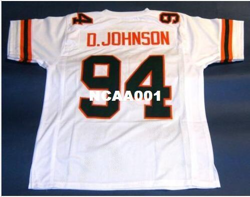 e07ac0ce CUSTOM MIAMI HURRICANES Men #94 DWAYNE JOHNSON UNIVERSITY College ...