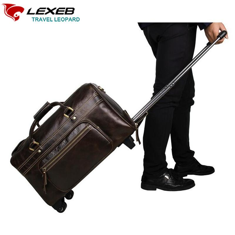 09e48829f67 Wholesale Carry On Luggage, Wheeled Travel Duffle Bag For Suit LEXEB Men s  Business Genuine Leather Rolling Suitcase 21 Inch Coffee Cheap Duffle Bags  ...