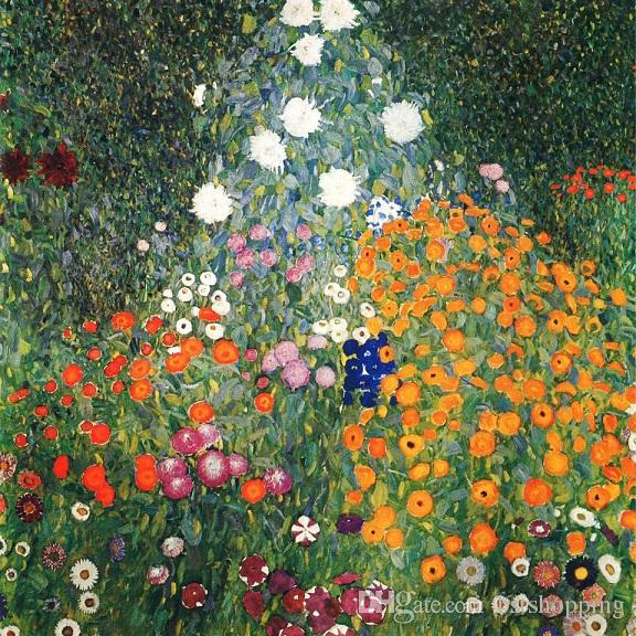 Framed Handpainted Classical Abstract Art Oil Painting Gustav Klimt - Flower Garden On Canvas.High Quality wall Art Home Decor l76