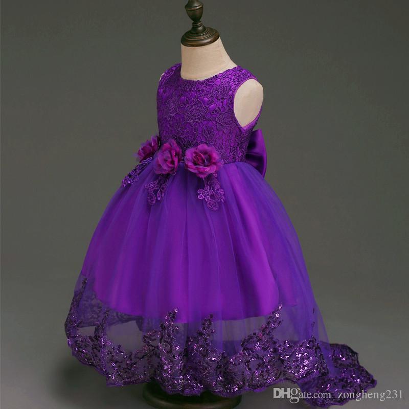 2018 New Prom Party Princess Flower Girl Dress Wedding Long Formal ...
