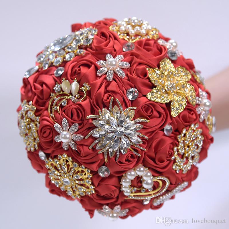 67da98a57 19CM Upscale Luxury Gold Rhinestone Wedding Flower Bouquet Pearl Crystal  Brooch Bridal Bouquet Red Silk Rose Bridesmaid Holding Flowers Wedding  Flower Girls ...