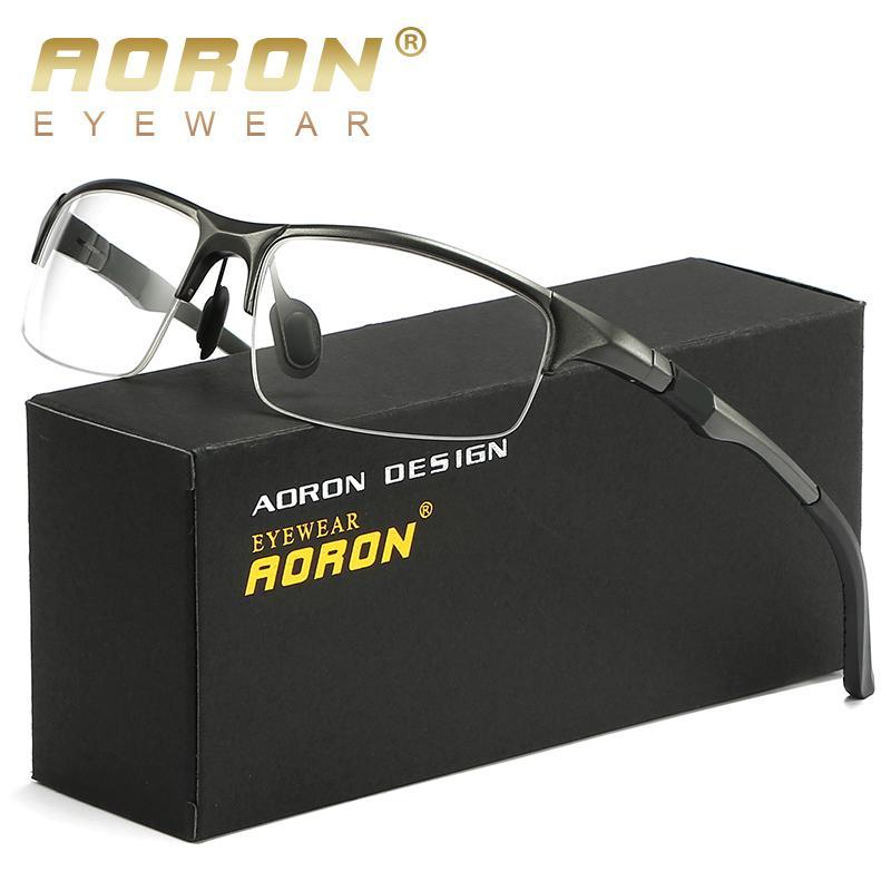 79b895e8fe Compre AORON Anteojos AL MG Espectáculo FrameMen Ordenador Óptico Eye Clear  Lens Glasses Frame Para Hombre Transparente Armacao A $21.04 Del Haydena ...