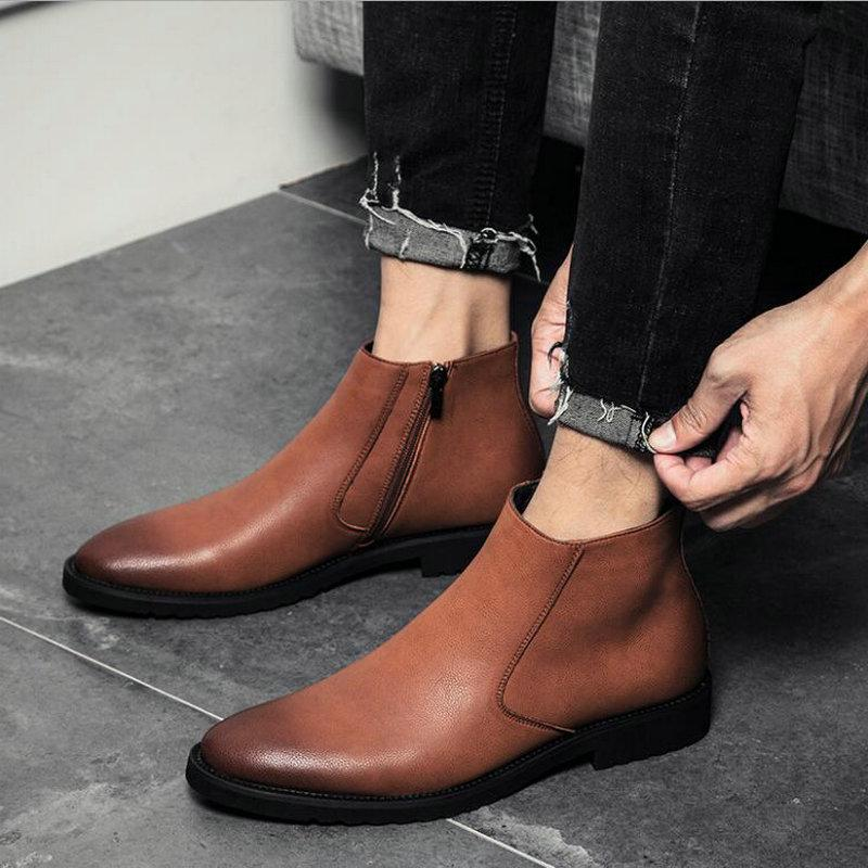 67003e058 2018 Fashion Men Formal Pointed Toe Ankle Boots Casual Men Leather Zipper  Boots Winter Shoes Martin Oxford Shoes PP 19 Footwear Fringe Boots From  Lugudream