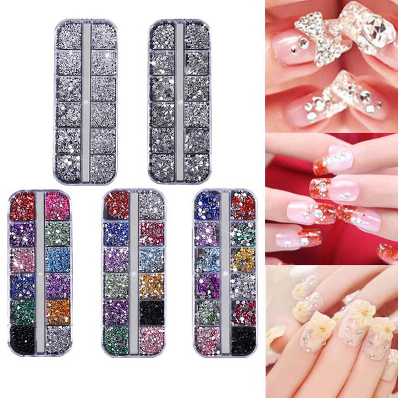 12 Cell Nail Art Decoration Sequins Rhinestone Glitter Crystal Gems Caviar  Bow Acrylic Gel UV Polish 3D Tips Manicure Nail Tool Nail Equipment  Rhinestone ... 68caf3e4e7ef
