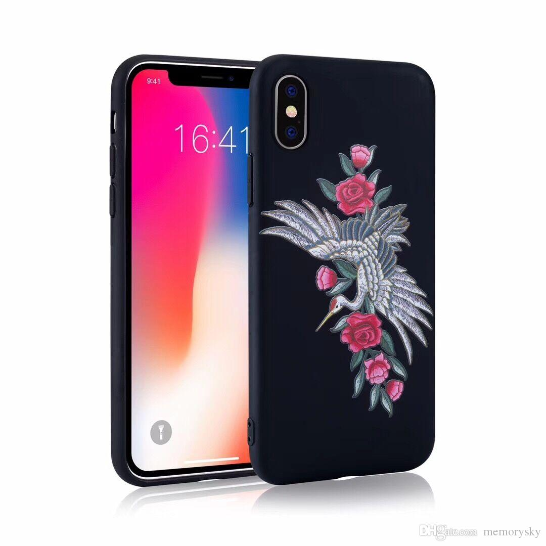 Fashion Embroidered Phone Case Unique Cases For Iphone X 7 8 Plus Totu Design Crystal Color Dark Blue 6 6s 5c Se Tpu Shell Cell Cover 8plus
