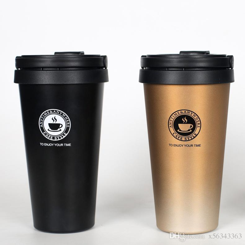 3dc28709d73 Vacuum Insulated Travel Coffee Mug Stainless Steel Leak Proof With Lid  Thermos Cup Coffee Mug Travel Drink Bottle 17oz Coffee Mugs With Handles Coffee  Mugs ...