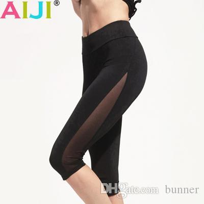 Wholesale- Women's Black Mesh Side Compression Capri Running Tights Jogging Fitness Shorts Women Yoga Short Wear For GYM Athletic Train
