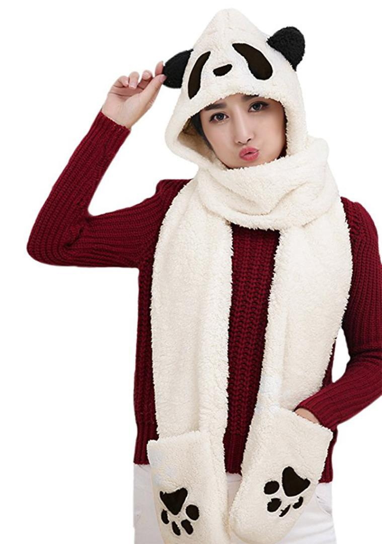 Cappuccio da donna Panda Animal Winter 3 in 1 Caldo morbido peluche con cappuccio Cap Gloves Mitten Sciarpa Set Cold Weather Paraorecchie