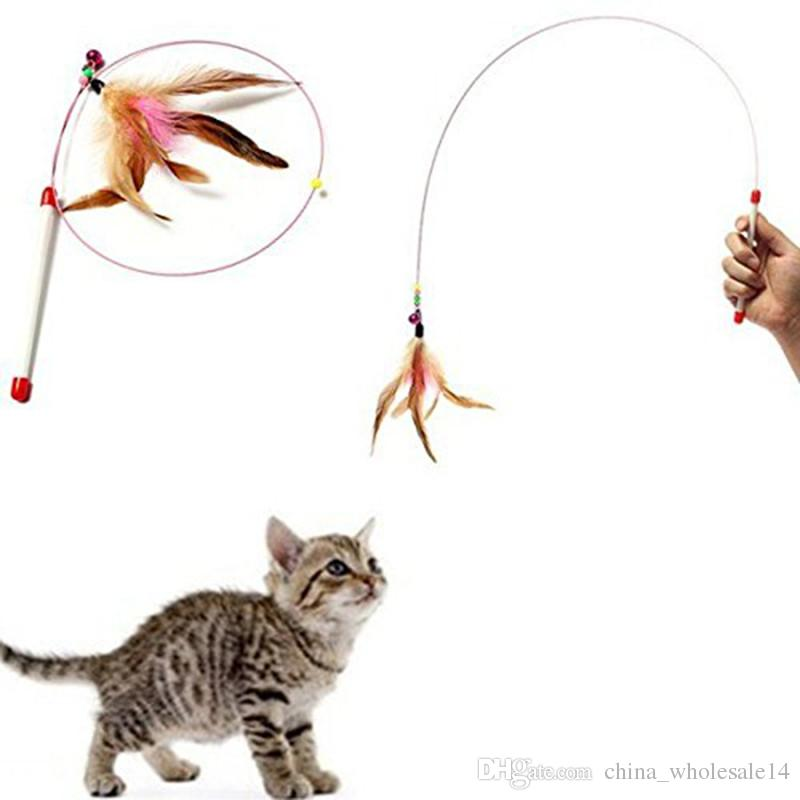 Pet Cat Toy Hot Cute Design Plastic Steel Wire Cat Feather Teaser ...