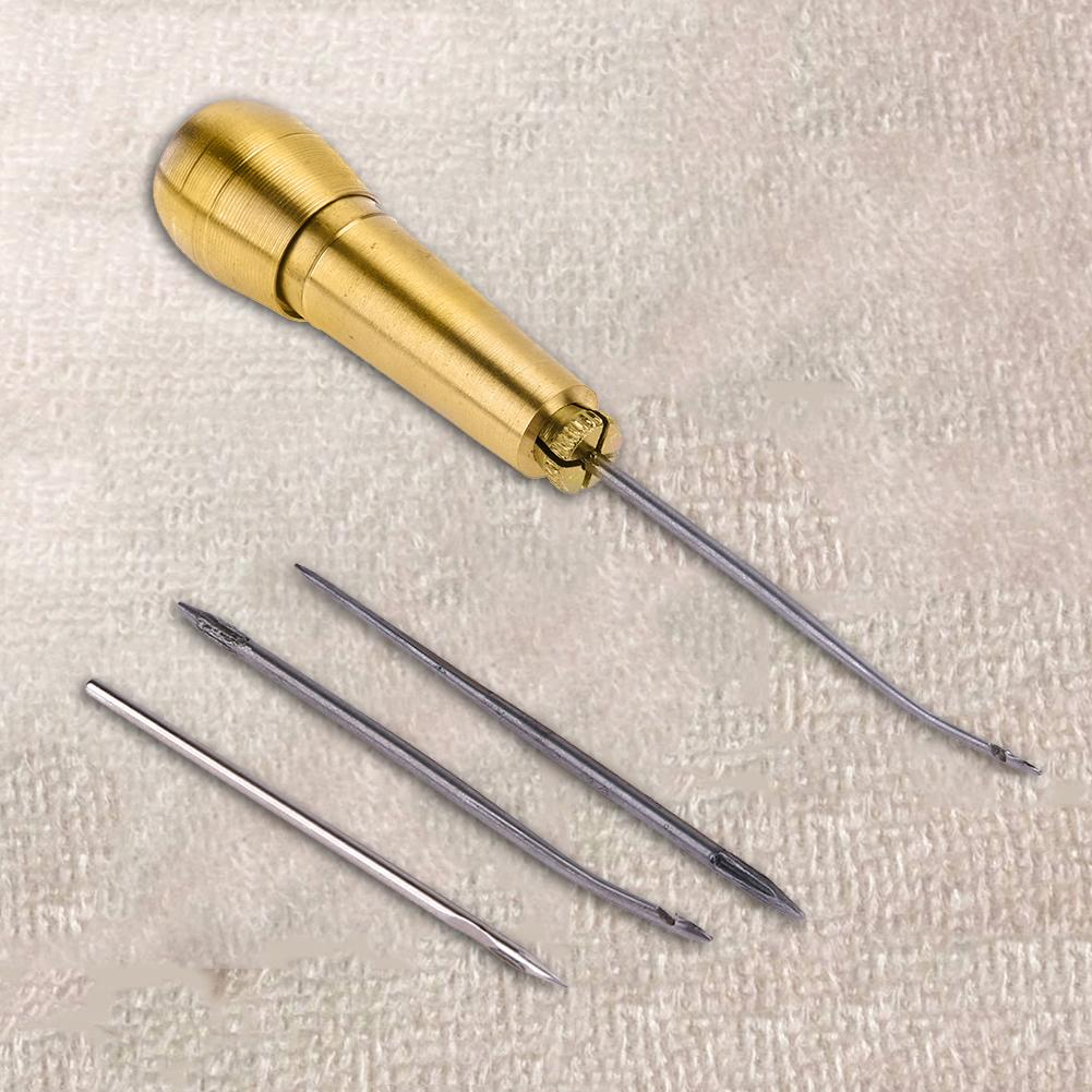 Sewing Shoe Repair Kit Sewing Tools Needle Awl Leather Craft Sewing Needles Copper Handle Tool Stitcher Crochet Line