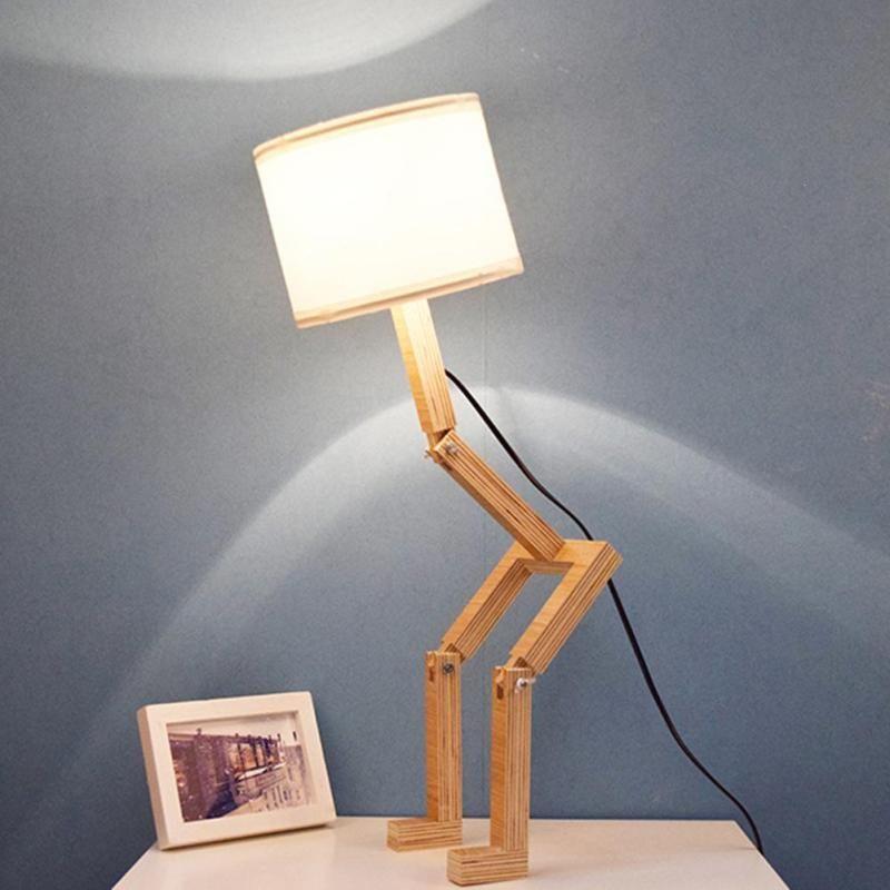 2019 Modern Robot Shape Wooden Table Lamp Modern Cloth Art Wood Desk