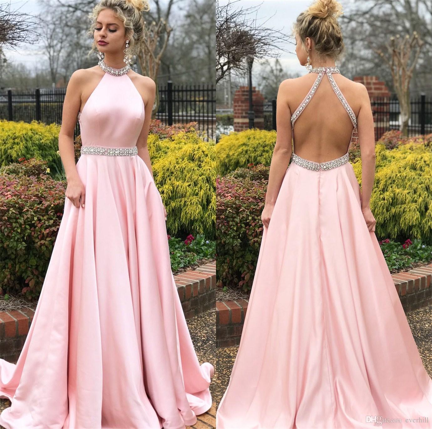 Compre Vestidos De Baile Sexy 2018 Rosa Con Cuentas Cuello Cintura ...