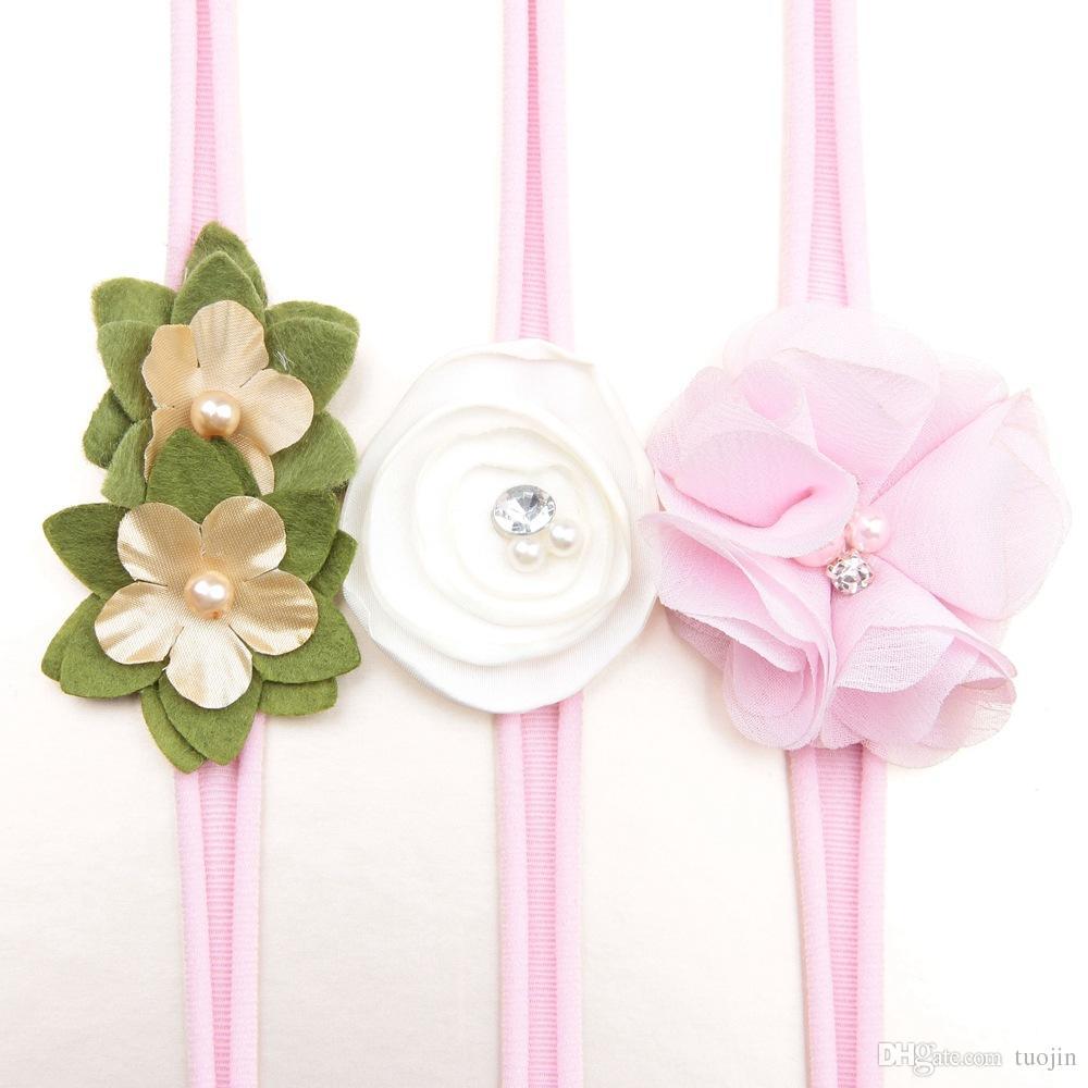 Vendas de la flor del bebé niñas accesorios para el cabello elástico venda del pelo Floral Girls Party regalo de cumpleaños del bebé lindo desgaste de la cabeza