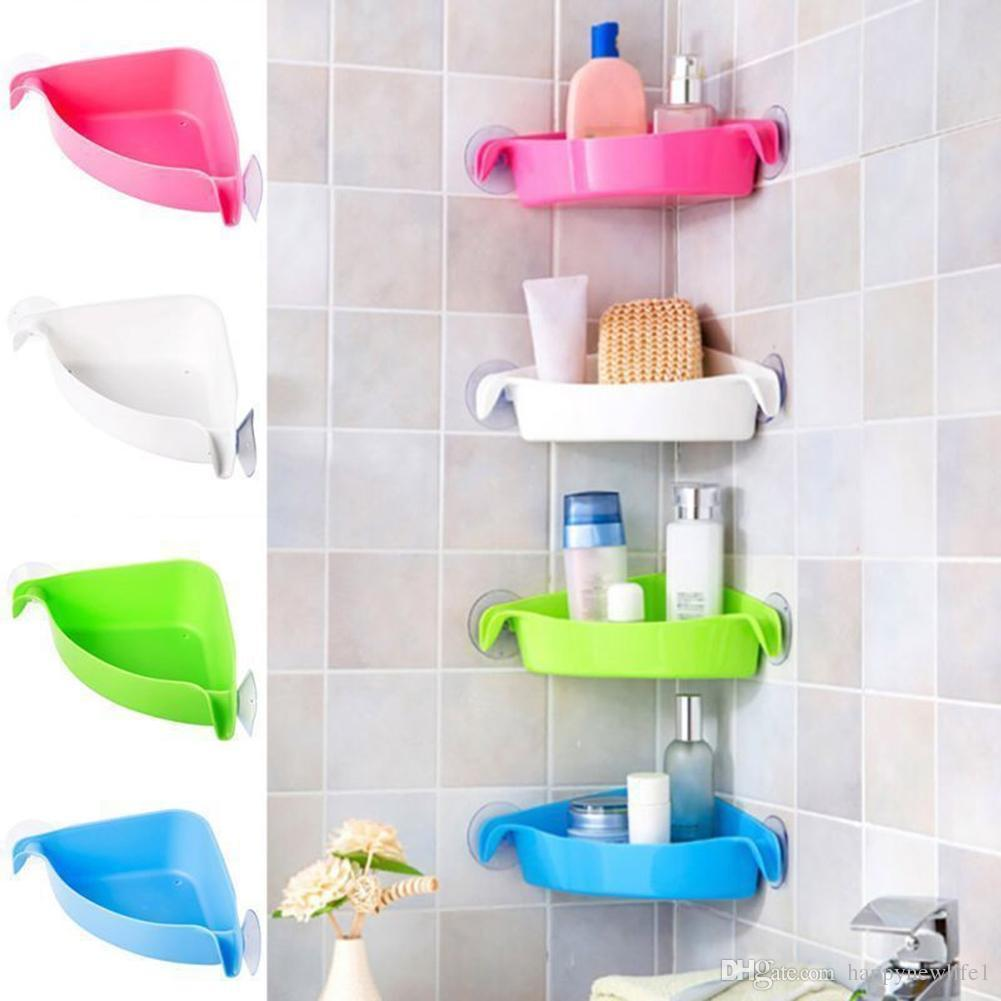 e3d2fe04e60c 4 Colors Bathroom Corner Storage Rack Organizer Shower Wall Shelf with  Suction Cup Home Corner Kitchen Bathroom Shelves