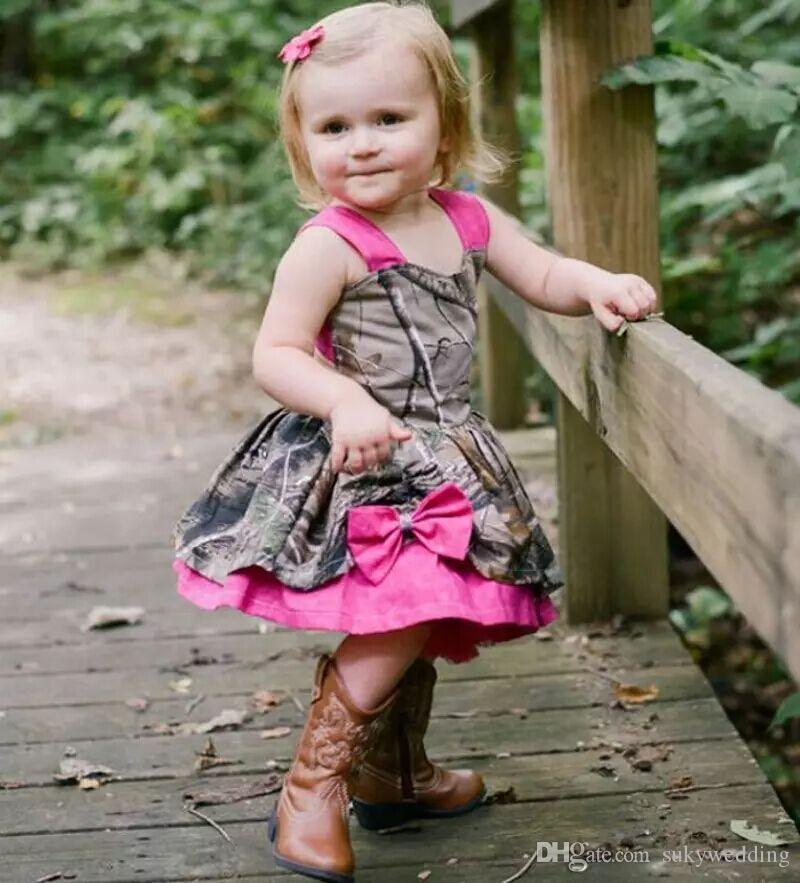b20d35e82 Lovely Camo Baby Girl Dresses Fuchsia Straps Flower Girl Dress For Weddings  Girls Pageant Gowns With Bow Kids Country Wedding Party Dresses Flower Girl  ...