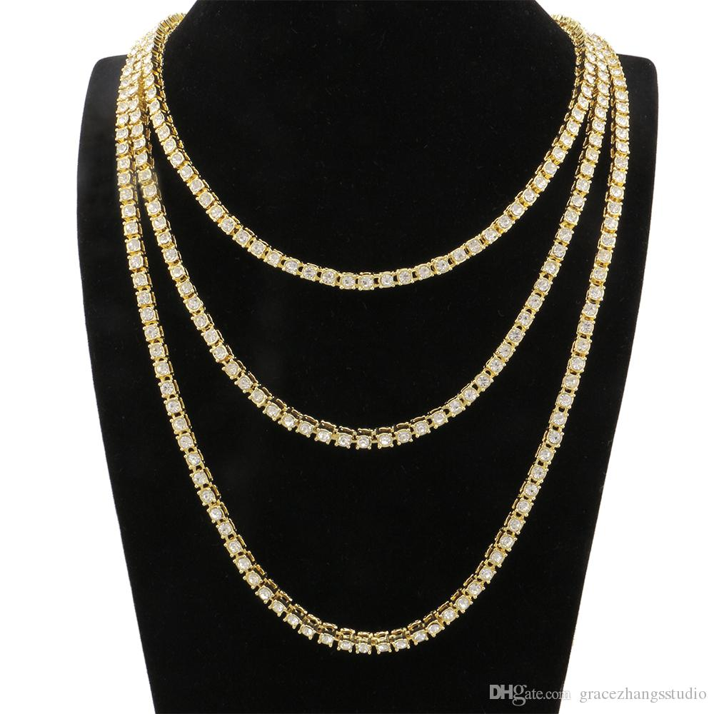 c8b860b6f4a9f Compre Hip Hop Tenis Collar De Diamantes Para Los Hombres De Moda Rapero  Graduado Joyería 20 Pulgadas 24 Pulgadas 30 Pulgadas Tres Colores Dorado  Plata ...