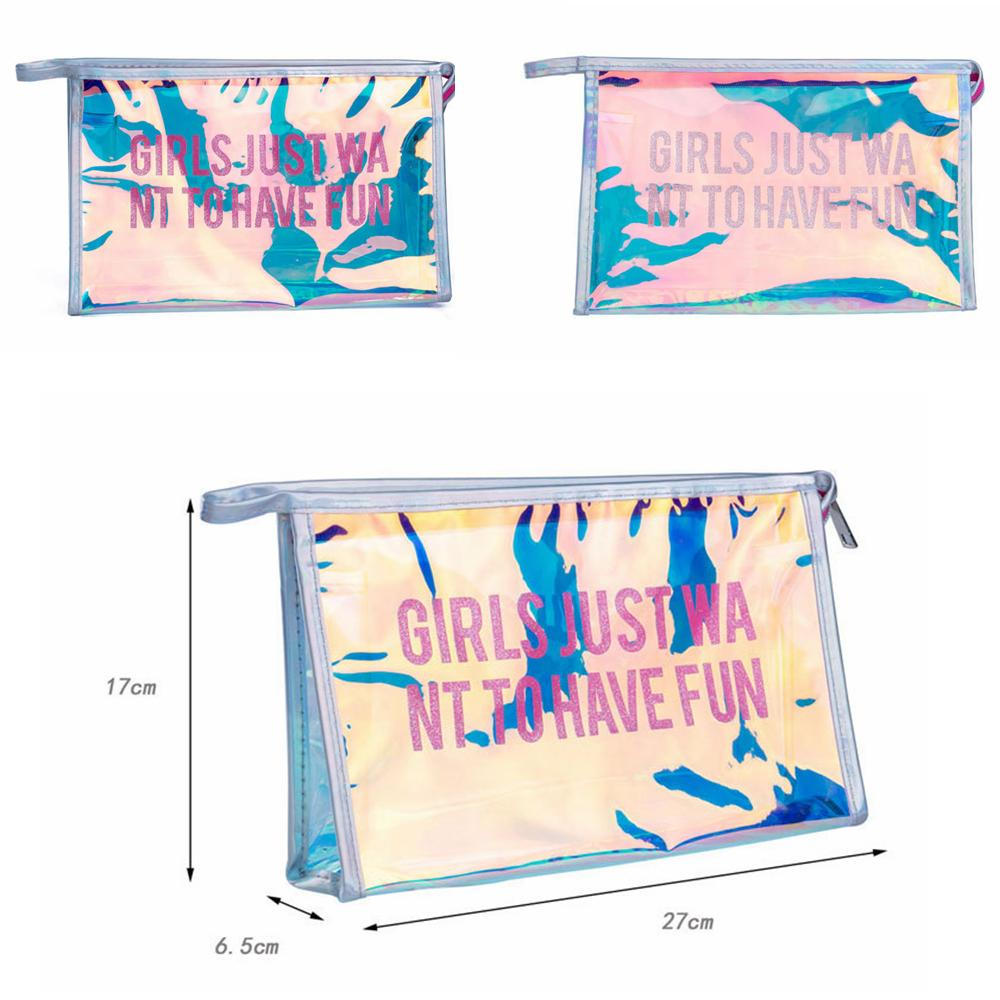 transparent Pvc Laser Letter Cosmetic Bag Portable girl make up Bag women outdoor travel fashion purse phone bag FFA650 100pcs