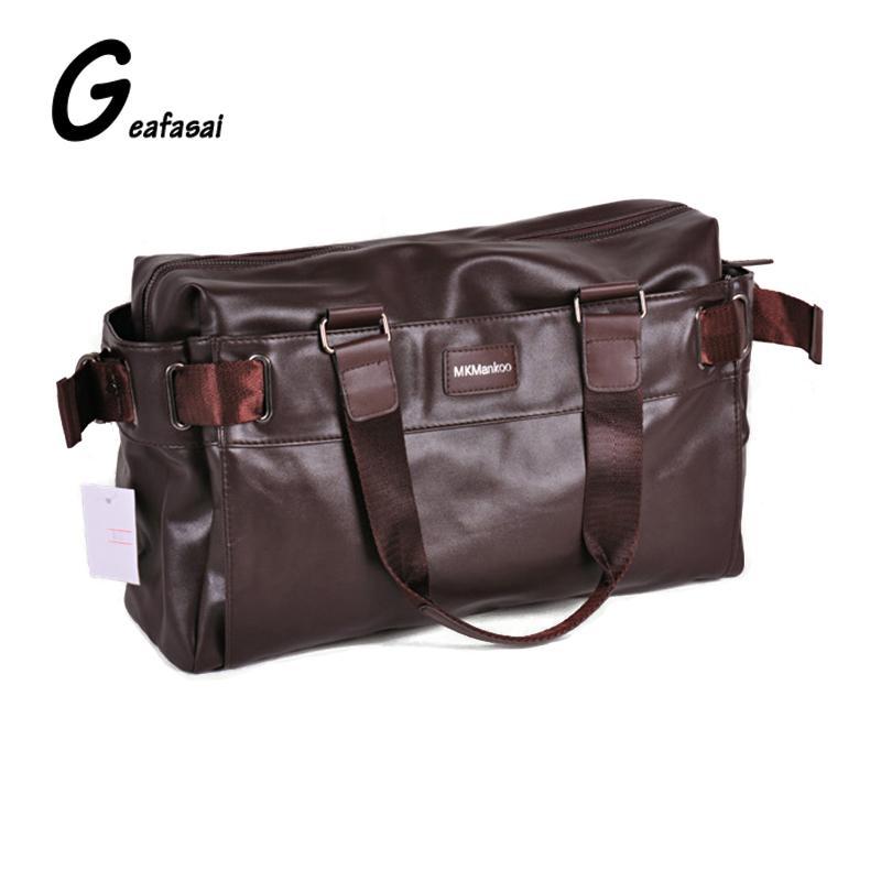 81a6c0c6c898 Wholesale Brown Black PU Leather Brand Luxury Large Capacity Handbag Men  Trunk Travel Duffel Shoulder Bags Messenger Bag Solid Color Vintage Handbags  Black ...