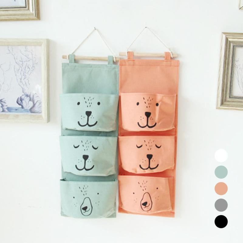 Wall Hanging Storage Bags Organizer Linen Closet Children Room Organizer Pouch for Toys Books Cosmetic Sundries 3 Pockets G30