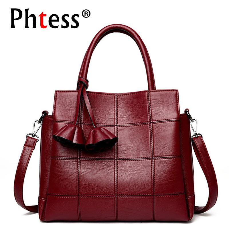 ecf011b9bc 2018 New Women Leather Handbags Luxury Brand Female Vintage Shoulder Bags  Sac A Main Tassel Top Handle Tote Bags Ladies Hand Bag Wholesale Purses  White ...