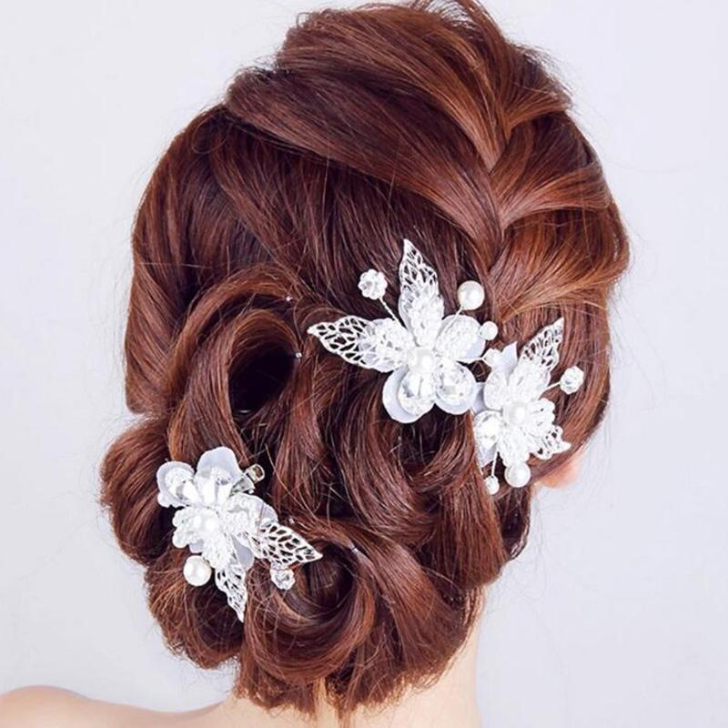 2016 New Fashion Romantic White Flower Crystal with Rhinestone Hair Pin Hair Clip for Beauty Girls Bride Hair Ornaments H291