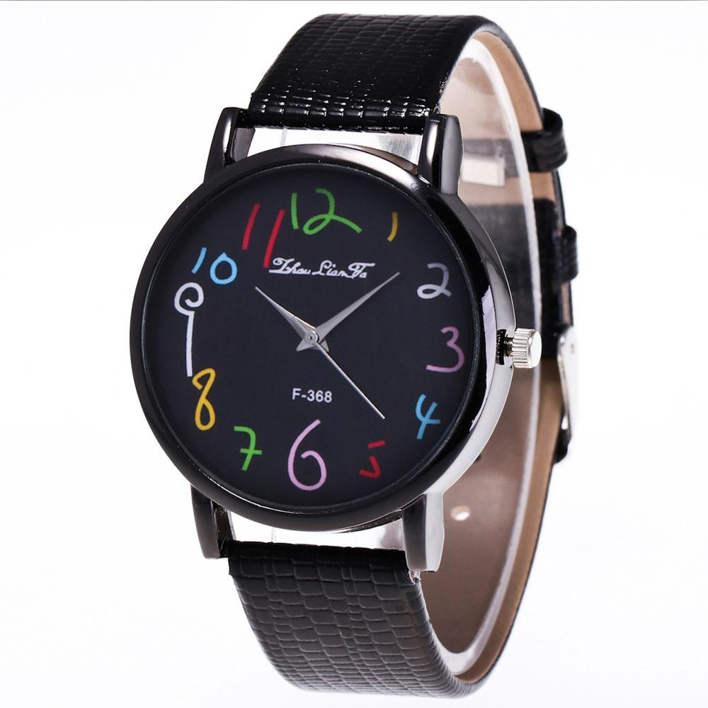 ae66267f9 Zhoulianfa Funny Digital Watches Women Men's PU Leather Band Analog Quartz  Watch Ladies Casual Large Dial Wrist Watches #LH