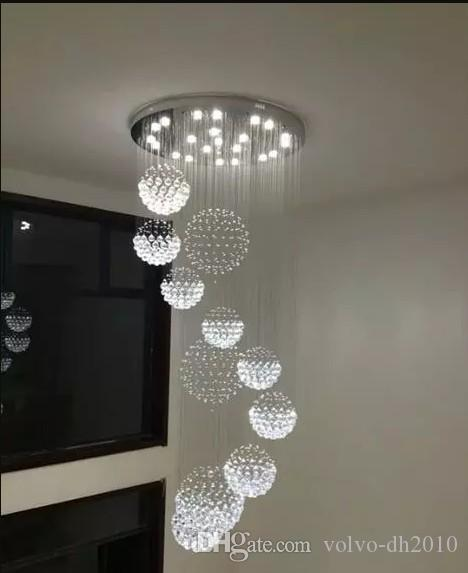 Spiral Crystal Chandelier Led Stair Lighting Hotel Stairwell Lamp For Living Room Long Spiral Crystal Light G4 Led Lustre Light Ceiling Lights & Fans Lights & Lighting