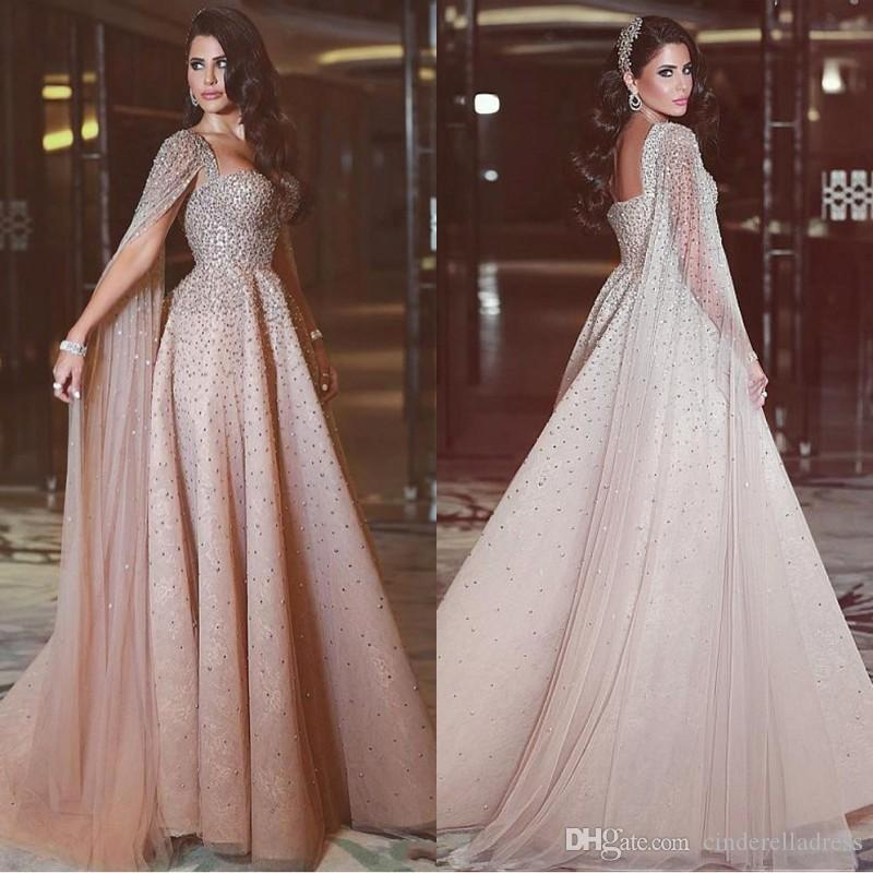 1b03dd9b74 2018 Said Mhamad A Line Prom Dresses Long Sleeves Crystal Beaded Evening  Dress Formal Women Backless Special Occasion Dress With Wrap BA7915 Plus Prom  Dress ...