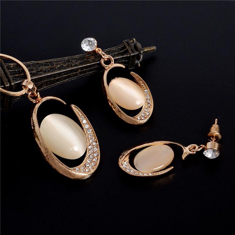 ZOSHI Golden Plated Jewelry Sets For Women Luxury Wedding Bridal Rhinestone Gem Jewelry Set Opal Cat's Eye Necklace Earrings Set