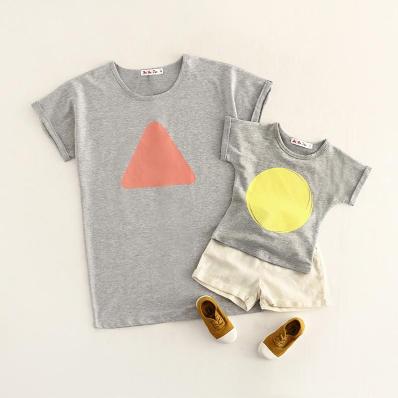 Xaber Kin Cotton Mother And Daughter Clothes 2017 Summer Family Matching Outfits Short Sleeve T-shirt For Family Look Clothing