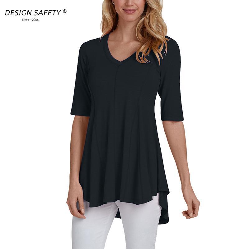 d6690522 Design Safety Women Cotton T Shirt Half Sleeve V Neck A Line Top Tee Female  Irregular Hem Shiirt Online Tees Tee Shirts Design From Lichee666, ...