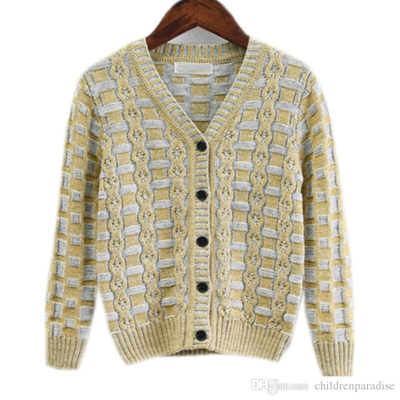 5e51c65210a3 4 To 10T Kids Boys Fall Winter V Neck Long Sleeve Knitted Cardigan ...