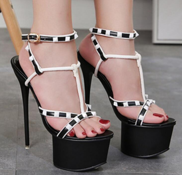 dffa4e0fa Compre Novas Mulheres Sexy Bombas Plataforma Sandálias De Moda Sapatos De  Verão De Salto Alto 16 Cm Peep Toe Sandálias Trançado Anel De Tira No  Tornozelo ...