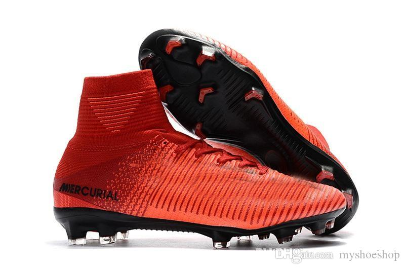 25bee8d1f Top mercurial superfly V FG original soccer shoes cheap football boots cr7  soccer cleats ankle high
