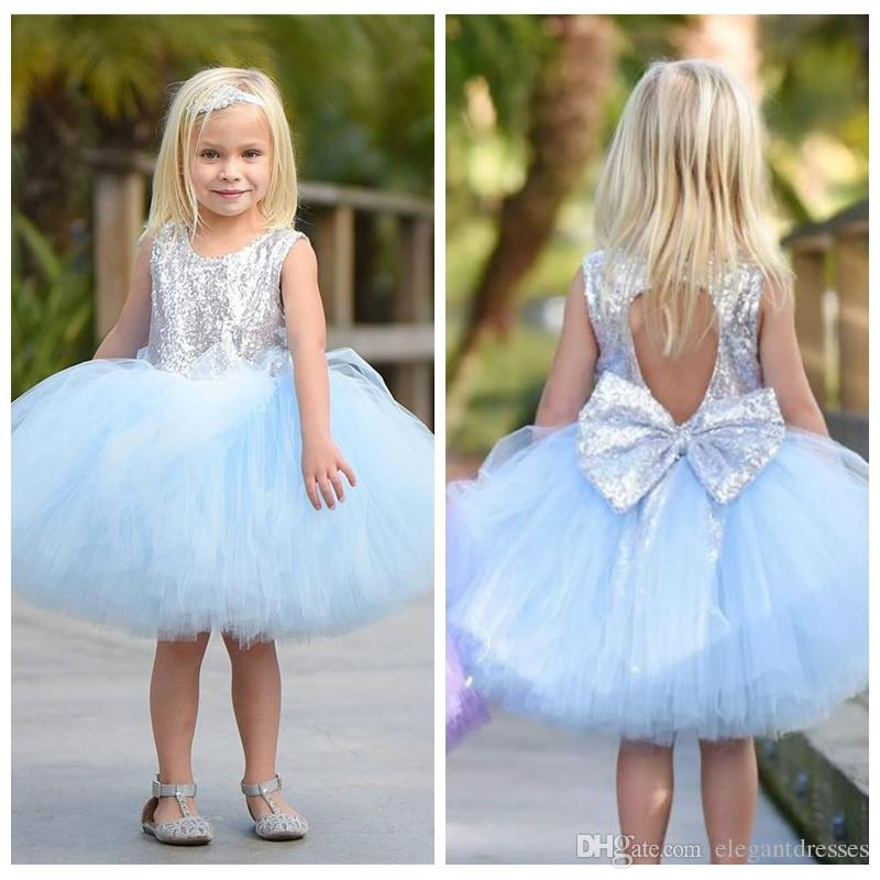 c5b5eff29ec 2018 Short Tulle Ball Gown Flower Girl Dresses Silver Sequins Top  Sleeveless Knee Length Children Princess Tutu Baby Pageant Party Gowns  Formal Dresses For ...