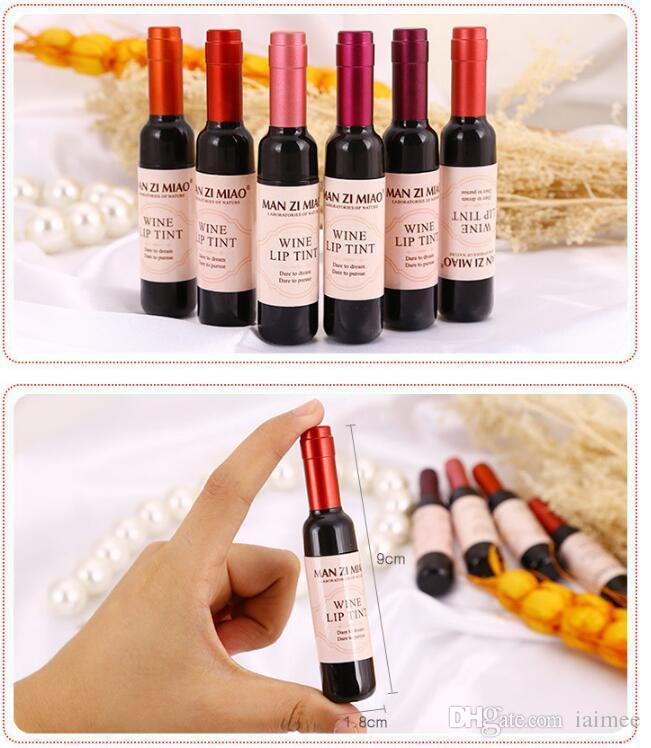 Nueva llegada Botella de vino tinto Tinte labial mate Brillo labial Impermeable Larga duración Brillo labial Hidratar Tinte labial Cosmético Lápiz labial líquido es
