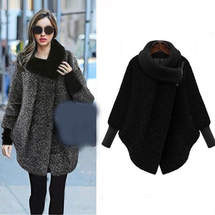 6a551b1897d 2018 New Women Winter Autumn Blends Wool Coat Jacket Knitted Long Sleeve  Plus Size Coat Zippers Loose Turtleneck Thick Jacket Online with   80.87 Piece on ...