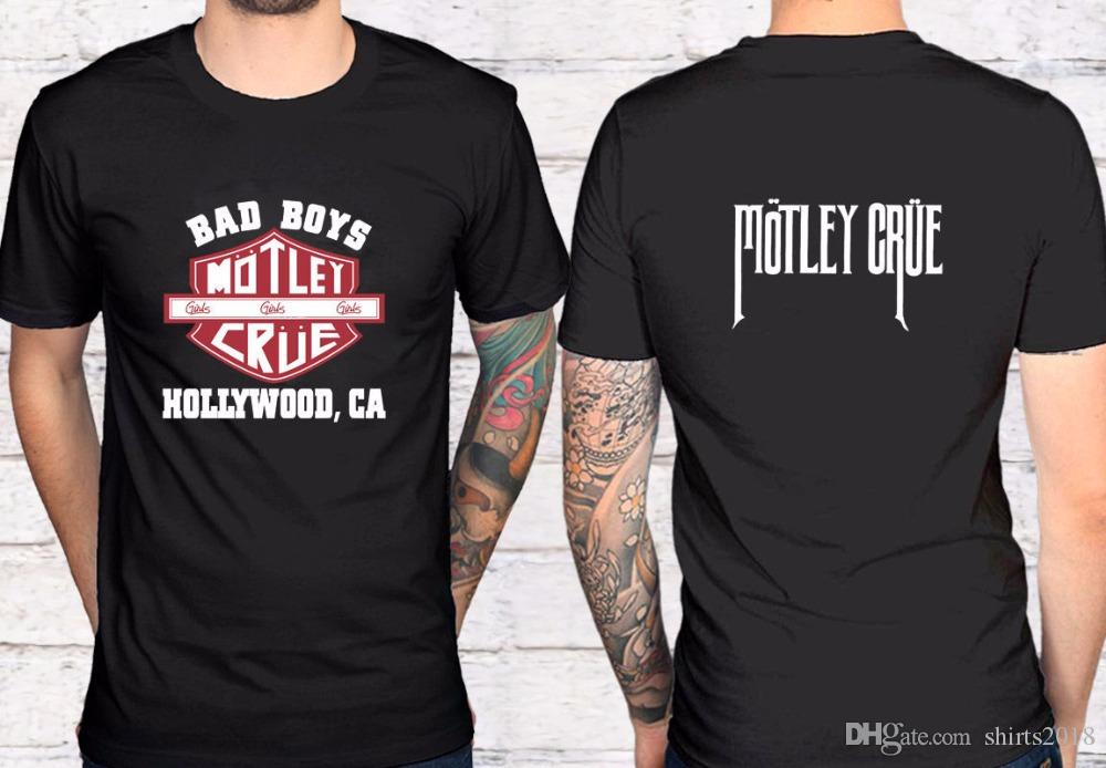 449db22ccf32 Compre Moda Clássico 2 Lado Motley Crue Bad Boys Banda De Rock De Metal  Preto T Shirt Camiseta S 3XL Dos Homens O Pescoço Curto Conforto Macio Camisa  De ...