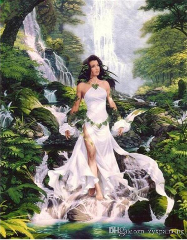 Diamante ricamo scenario cascata sexy ragazza fai da te diamante pittura a punto croce kit resina pieno diamante rotondo mosaico decorazione della casa yx4118