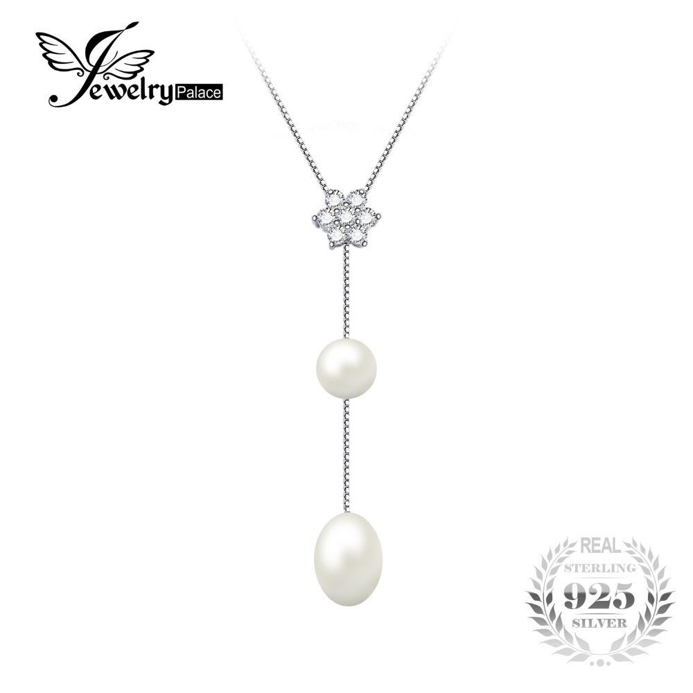 JewelryPalace Flower Round 6.5mm Freshwater Cultured Pearl Box Chain Choker Strand Beads Necklace 925 Sterling Silver 18 Inches