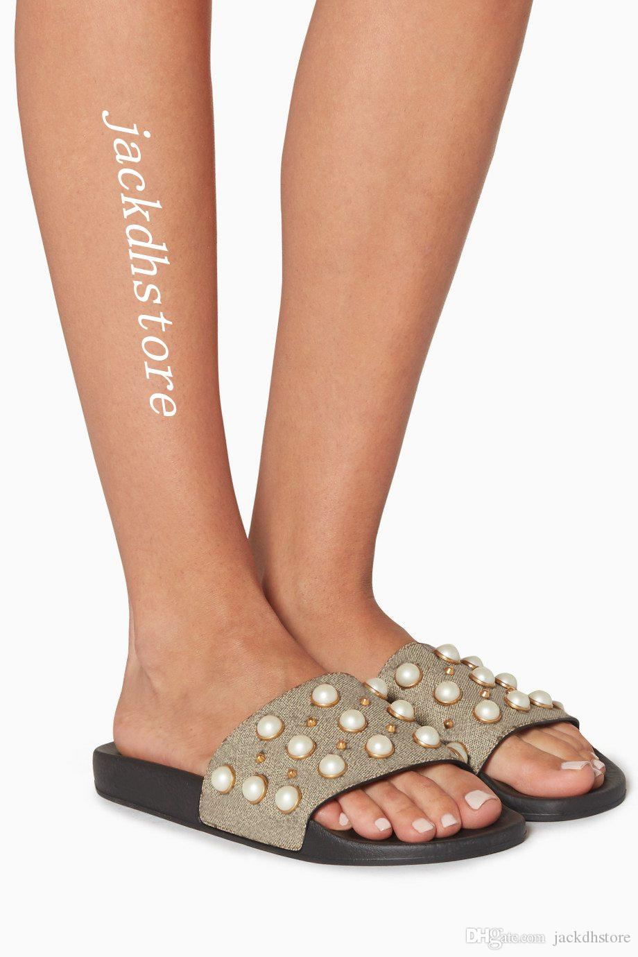 bc3aaba59704 Men And Women Pearl Embellished Rubber Slider Sandals Summer Outdoor Beach Flat  Flip Flops Size Euro35 45 Sandals For Women Knee High Gladiator Sandals  From ...