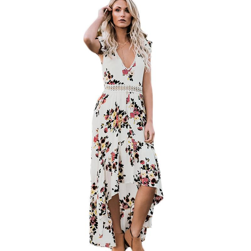c05ac21123 Lace Chiffon Dress 2019 New Sexy V Neck Lace Summer Long Dress Women  Vintage Boho Floral Maxi Dress Backless Beach Tunic Vestido All White  Summer Dress ...