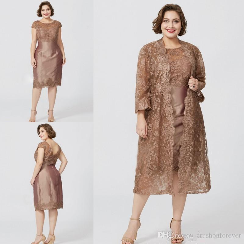 f5c7c1548232 Plus Size Applique Lace Mother Of The Bride Dresses With Jacket Long Sleeve  Evening Gowns Appliques Knee Length Wedding Guest Dress Von Maur Mother Of  The ...