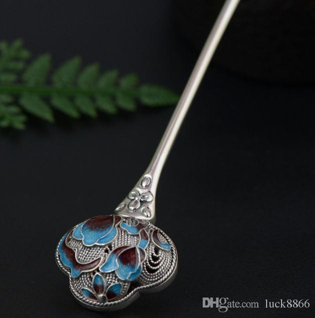 Hot sell 100% S925 sterling silver antique style beautiful pure silver burning blue hairpin gift