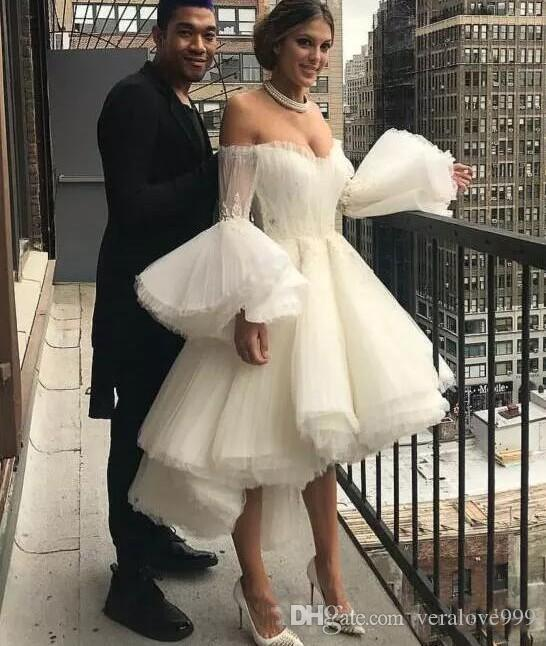 ef8d2e84945a Discount White High Low Wedding Dress Sexy Off The Shoulder Trumpet Long  Sleeves Bridal Gowns Summer Tulle Wedding Dress Cheap Cheap Gowns Cheap Lace  ...