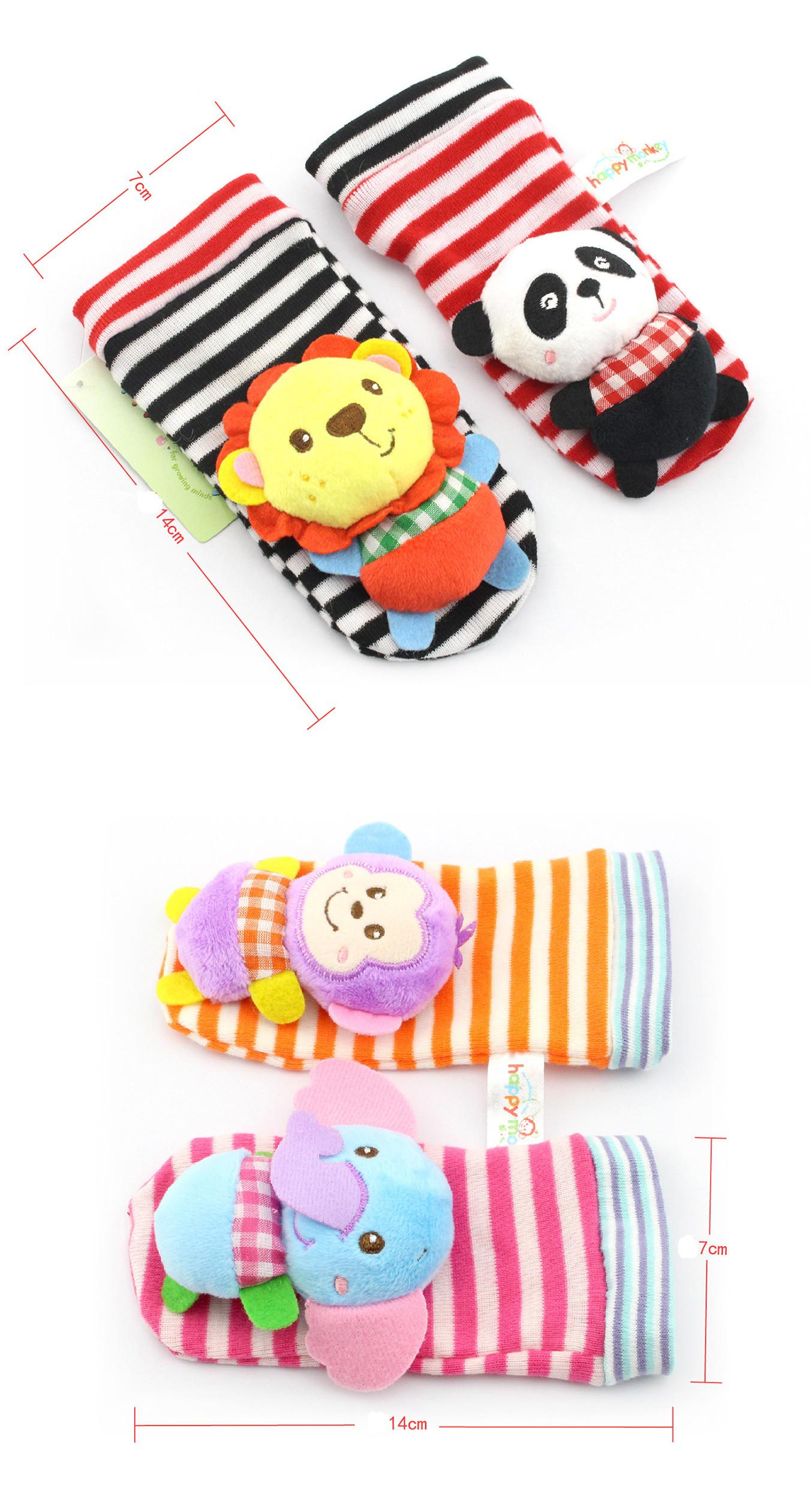Glückliches Affe Baby Schöne Tier Bebe Infant Handgelenk und Socken Rassel Fuß Finder Set Lernspielzeug Weihnachtsgeschenk für Kinder